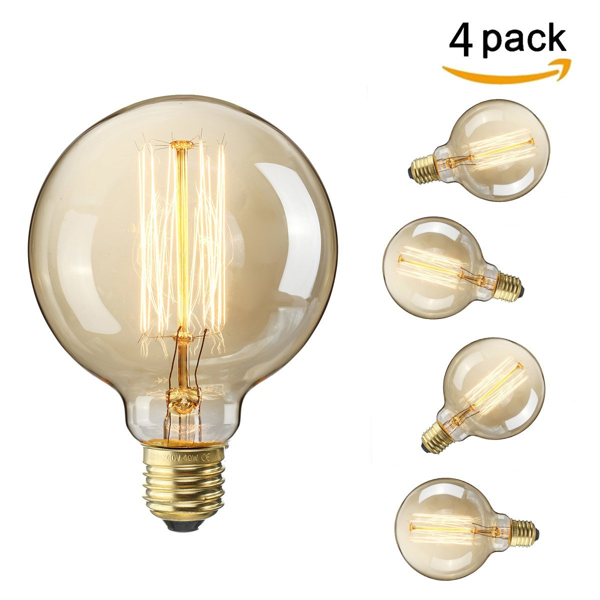 Elfeland Vintage Edison Globe Light Bulb - Retro Classic Style Squirrel cage Tungsten Filament Decorative Light Bulbs - 32 Anchors - Screw E27 40W 220V - Dimmable - Model G95 (φ95mm) - 4 packs [Energy Class E]